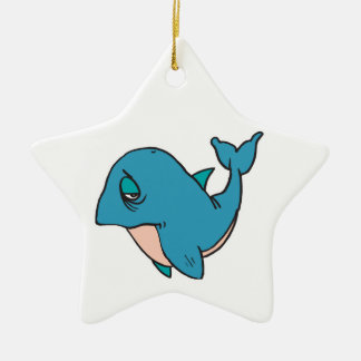 sad little whale Double-Sided star ceramic christmas ornament