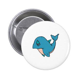 sad little whale pinback button