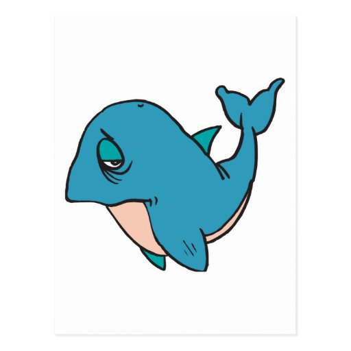 sad little whale post card
