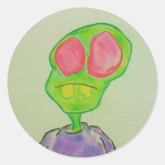 Sad little zombie boy sticker. classic round sticker