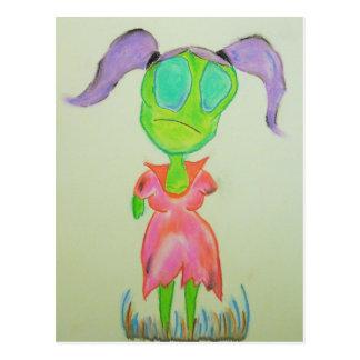 Sad little zombie girl. postcard