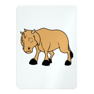 Sad Lonely Crying Brown Calf World Vegetarian Day 5x7 Paper Invitation Card
