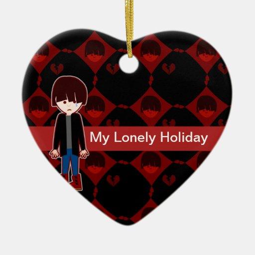Sad Lonely Emo Boy Ceramic Ornament