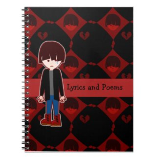 Sad Lonely Emo Boy Spiral Notebook