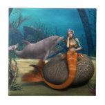 Sad Mermaid Ceramic Tile