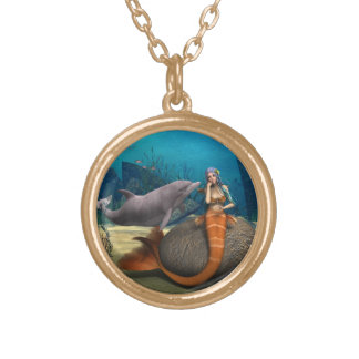 Sad Mermaid Gold Plated Necklace