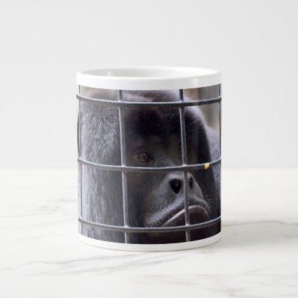 sad monkey in cage primate image jumbo mug
