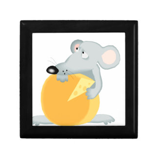 Sad Mouse Mice Holding Cheese Gift Box