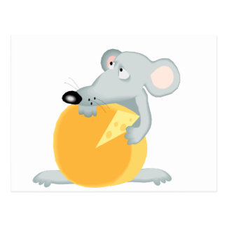 Sad Mouse Mice Holding Cheese Postcard