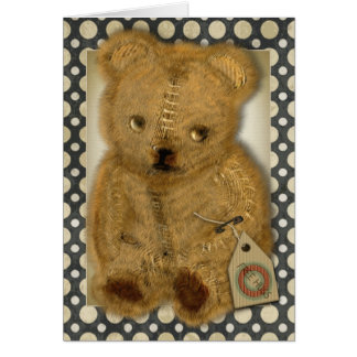 Sad Old Vintage Teddy Bear Greetings Cards