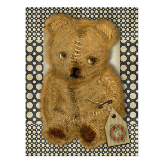 Sad Old Vintage Teddy Bear Postcard