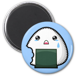 Sad Onigiri 2 Inch Round Magnet