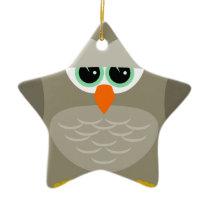 Sad owl ceramic ornament