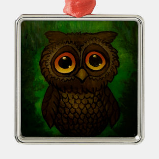 Sad owl eyes metal ornament