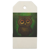 Sad owl eyes wooden gift tags