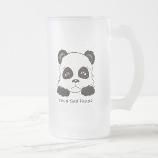 Sad Panda Frosted Glass Beer Mug