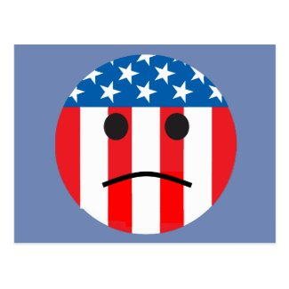 sad patriotic smiley postcard