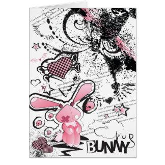 Sad Pink Lillte Bunny Note Card