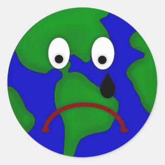 Sad Planet Earth Design Classic Round Sticker