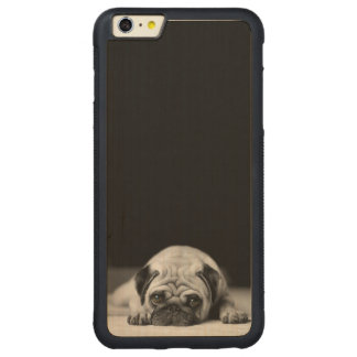 Sad Pug Carved Maple iPhone 6 Plus Bumper Case