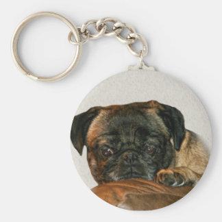Sad Pug Dog Keychain