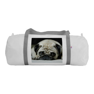Sad pug - dog lying down - dog look - cute puppies gym bag