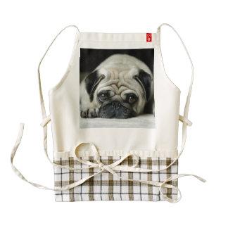 Sad pug - dog lying down - dog look - cute puppies zazzle HEART apron