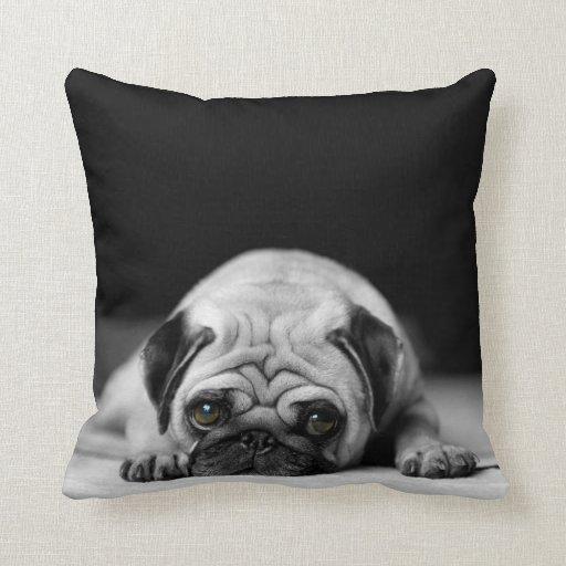 Sad Pug Throw Pillow