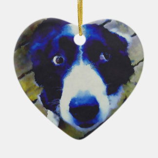 Sad Puppy Dog Eyes Painted Style Ceramic Ornament