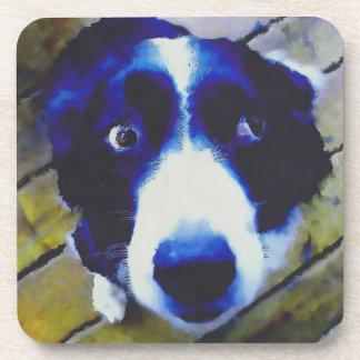 Sad Puppy Dog Eyes Painted Style Drink Coaster