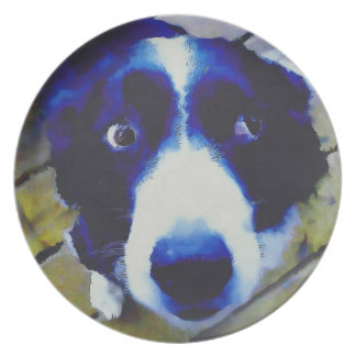 Sad Puppy Dog Eyes Painted Style Plate