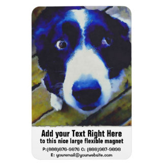 Sad Puppy Dog Eyes Painted Style Rectangular Photo Magnet