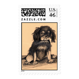 Sad puppy postage stamp
