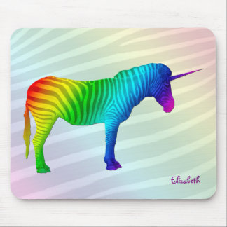 Sad Rainbow Zebra Unicorn Mousepad