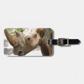 Sad Rhinoceros Face Bag Tag