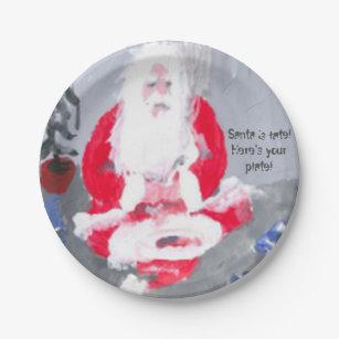 SAD SANTA PAPER PLATES 7INCH & Santa Plates   Zazzle
