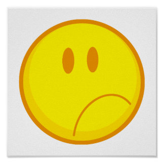 sad silly frowning sad smiley face poster