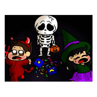 Sad skeleton postcard