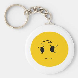 sad smiley basic round button keychain