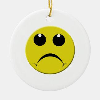 sad smiley face ceramic ornament