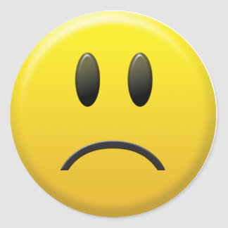 Sad Smiley Face Classic Round Sticker