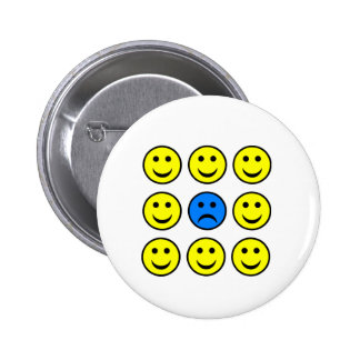 Sad Smiley Face in a Crowd of Happy Smilies Badge