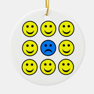 Sad Smiley Face in a Crowd of Happy Smilies Ceramic Ornament