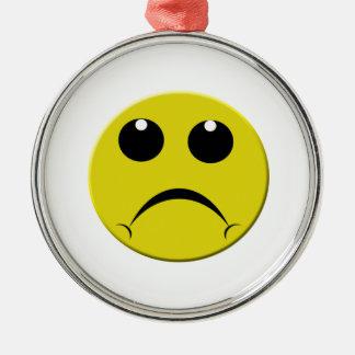 sad smiley face metal ornament