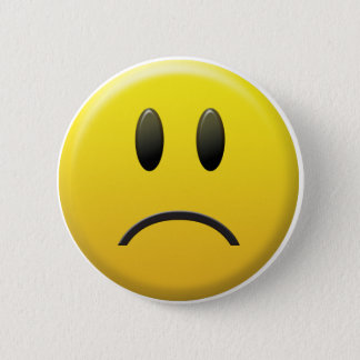 Sad Smiley Face Pinback Button