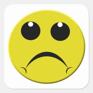 sad smiley face square sticker