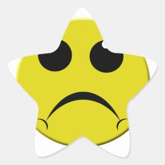 sad smiley face star sticker