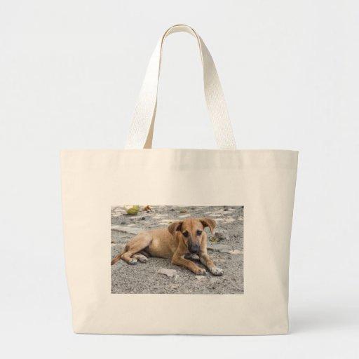 Sad Stray Dog Canine Large Tote Bag   Zazzle
