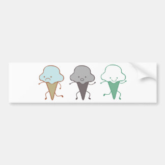 Sad, Suprised, and Happy Ice Cream Car Bumper Sticker