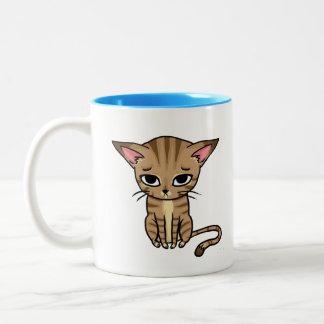 Sad Tabby cat Kitten Two-Tone Coffee Mug